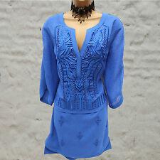 Karen Millen Dv034 Limited Edition Embroidered Beaded Cobalt Blue Tunic Dress 10