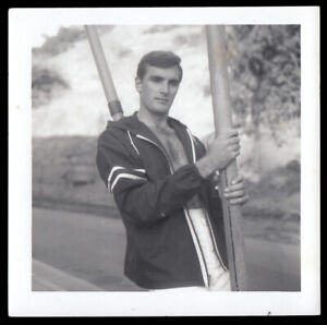 MOVIE-STAR HANDSOME GAY MODEL MAN POSES in SURFER FASHION ~ 1960s VINTAGE PHOTO