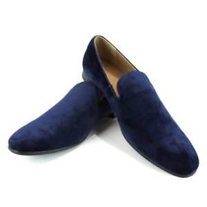 Blue Velvet Slip On Loafers Men's Dress Shoes Modern Formal Footwear By AZAR MAN