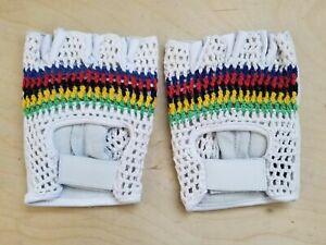 UCI world champion stripes vintage style l' eroica leather crochet retro white