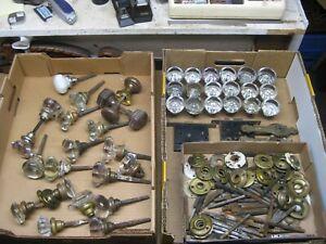 Vintage Glass Door Knobs Lot  - 8 Point & Round w/ Hardware
