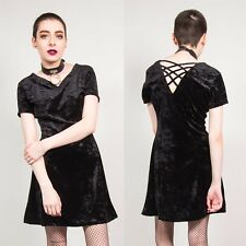 BLACK CRUSHED VELVET DRESS WOMENS MINI 90S VINTAGE SKATER STYLE V-NECK GRUNGE 12