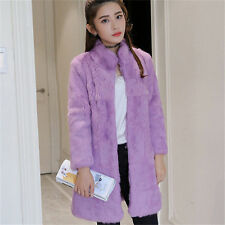 Real Rabbit Fur Women Long Coat Jacket Overcoat Trendy Garment Winter Warm Sale