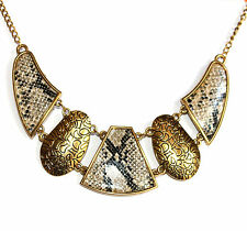 Womens Ladies Gold Tone Snake Skin Necklace Modern Chain Link Bib Wild Animal