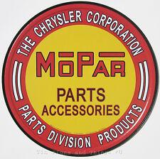 Mopar Parts ROUND TIN SIGN Chrysler metal wall decor vtg hot rod garage ad 613