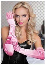 Satin Opera Gloves Light Pink Opera Length New Adult Halloween Cristmas Womens