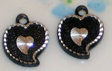#351 Vintage Glass Heart Pendant Charms Hearts Old Jet Silver Black Dangles