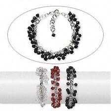 1802JD BULK Bracelet Mix Glass Bicon Silver Steel Beaded, Red Black Clear, 3 Qty