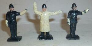 THREE PREWAR DINKY TOYS VINTAGE LEAD POLICEMAN FIGURES