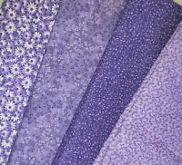 Purple Color Fat Quarter #1 | Mask Fabric | Precut Quilting Cotton | Set of 4