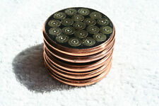 AN UNUSUAL Set of Five Copper-Bound Handmade Bullet Coasters
