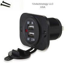 Red Power LED Car USB Charger 12V DC Dual  3.1A Waterproof Plug Socket Panel