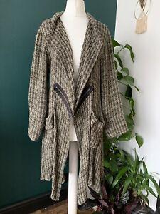 Ladies Masai Clothing Brown/Black Long Woven Cardigan Jacket Lagenlook size XS