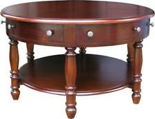 6 Drawer Solid Mahogany ROUND Coffee Table H50 x W90 x D90cm Wooden Top