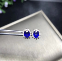 4.50Ct Oval Cut Blue Sapphire Push Back Halo Stud Earrings 18K White Gold Finish
