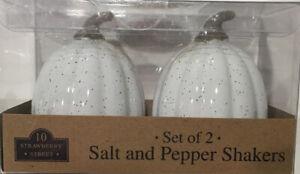 Artisan 10 Strawberry Street Fall Harvest White Pumpkin Salt & Pepper Shakers