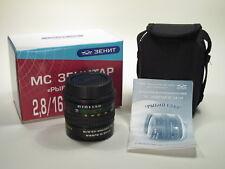 """MC Zenitar 2.8/16mm """"Fish Eye"""" lens for Canon EOS EF-mount, old design, NOS"""
