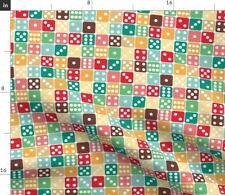 Roll Dice Vintage Pink Aqua Home Decor Spot Spoonflower Fabric by the Yard