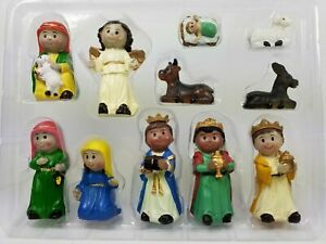 Christmas Traditional Decoration Nativity Set, 11 Pieces Hand Painted Figures