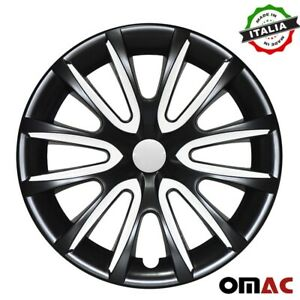 "15"" Inch Hubcaps Wheel Rim Cover For Nissan Glossy Black White Insert 4pcs Set"