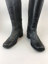 Clarks Black Leather Knee High Zip Up Elasticated Riding Boots 38 UK5 E Wide Fit