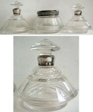 Lot de 3 flacon en cristal et couvercle argent massif silver crystal bottle