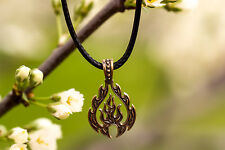 """Fire Sign"" Bronze Amulet, Nordic Jewelry Vikings Talisman Necklace Pendant"