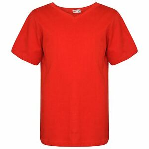 Kids Basic T Shirt V Crew Neck Casual Everyday Fashion Boys Girls Age 2-13