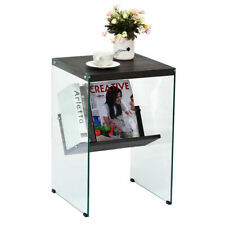 Modern 2-Tier Soho Tempered Glass Sided End Accent Table Coffee Table Wood Top