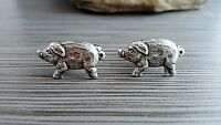 Handmade Oxidized Silver Piglet Pig Cuff Links