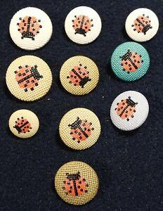 Mixed Lot 10 Vtg JHB International Realistic Novelty Plastic BUTTONS Ladybug
