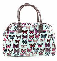 Ladies Oilcloth Butterfly Polka Dot Print Tote Holdall Weekend Bag Travel Bag
