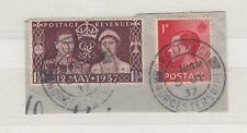 Gb Keviii Kgvi 1937 1 1/2d Coronation Plus 1d On Unused Piece Cds Jk121