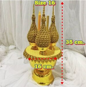 Gold Worship Candle Incense Small Fabric Ornament Artificial Offering Homage Pay