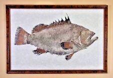 """Original Painting Gyotaku Greg Aragon """"Warsaw Grouper"""" Rice Paper Framed 44""""x64"""""""