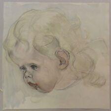 Hermann Groeber: Mädchenportrait - Meisterliches Aquarell verso Bleistiftz. 1917