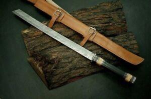 New Custom Handmade Damascus Steel Viking Sword With Leather Sheath