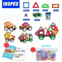 105 Piece Magnetic Tiles magnetic Building Blocks Toys for Kids Educational Toys