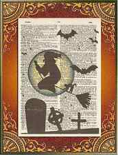 Halloween Witch Broom Cemetery Cat Altered Art Print Upcycled Vintage Dictionary