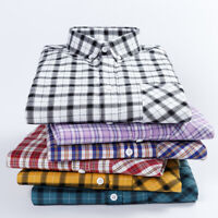 New Mens Plaids Checks Slim Casual Business Dress Shirts chemises hommes 6548