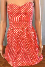 BeBop Shirt Dress Womens Size Medium Coral Pink White Spots Strapless Halter Top