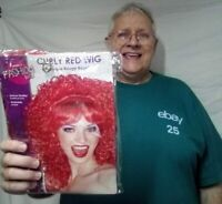 Red Curly Wig adult female show girl clown theatrical costume Rubies deluxe