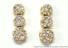 0.75ctw Fine Diamond 14k Gold Earrings Journey Style Cluster Drop Dangles