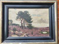 antik Gemälde O HASE Heide Landschaft 46x36cm im alten Bilderrahmen