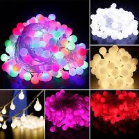 40/100 LED Lichterkette Kugeln Innen Außen Party Weihnachten Garten Beleuchtung