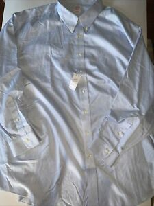 New Men's Brooks Brothers Stripped Blue White Button Up Shirt Sz 20.5 37 $104