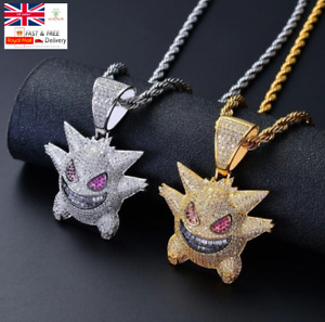 Iced Out Pokemon Gengar Hip Hop Necklace - Gold, Silver, Purple - Free Gift Bag