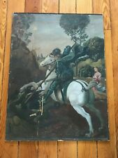 Vintage Oil Painting on Fiberboard Armored Man on White Horse Spearing Animal