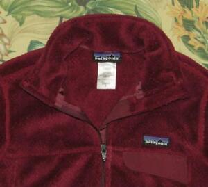 Womens PATAGONIA Retool Maroon Full Zip Snap T Fleece Jacket Small S