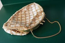 Vintage Jolles Original Beaded Purse Hand with Rhinestone Frame EUC
